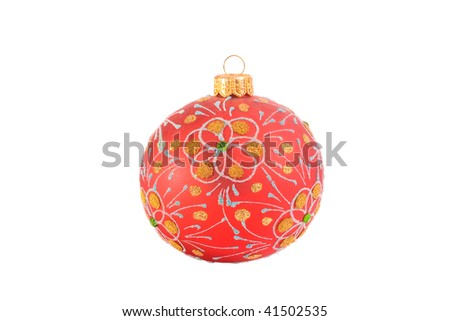 Bright red Christmas ball (isolated on white)