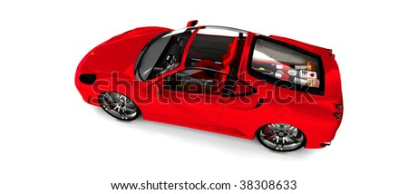 Bright Red convertible Sportscar / sports car, isolated on white overhead View - stock photo