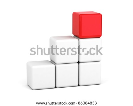 bright red cube leadership concept - stock photo