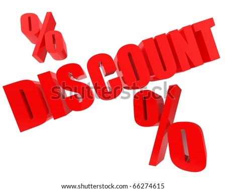 bright red DISCOUNT 3d-text with percents nearby isolated on white background - stock photo