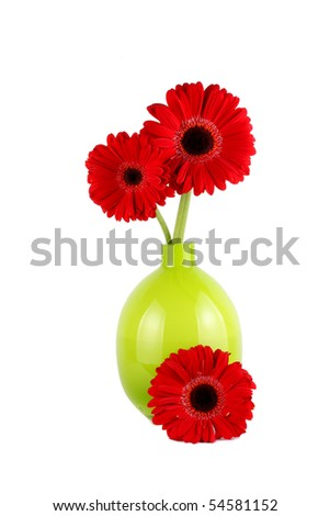 Bright Red Gerbera Flowers in green glass vase