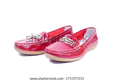 bright red glossy mocassins closeup