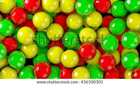 Bright red, green, yellow spheres. Abstract 3D background - stock photo