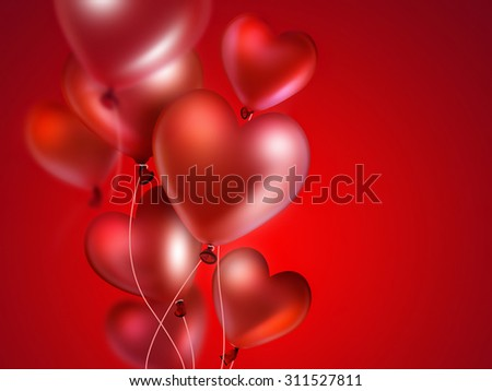 bright red heart balloons on red background - stock photo