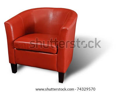 Bright Red leather Armchair isolated on white with a drop shadow. - stock photo