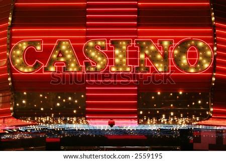 Bright red neon casino sign - stock photo