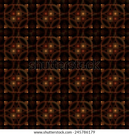 Bright red / orange / copper abstract shiny tiles on black background (tile able) - stock photo