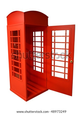 Bright red pay phone. Sight of London. Photographed indoors. - stock photo