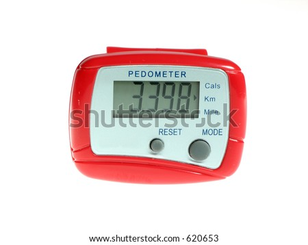 Bright red pedometer isolated over white