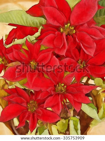 Bright red poinsettias turned into a vibrant painting - stock photo