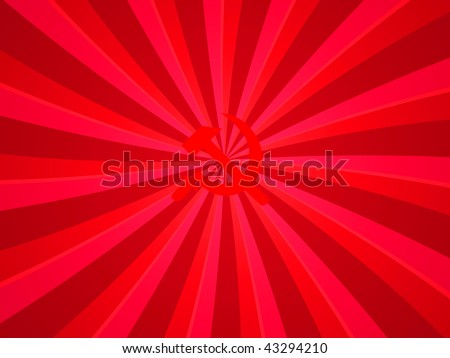 Bright red rays and the Soviet symbol - stock photo