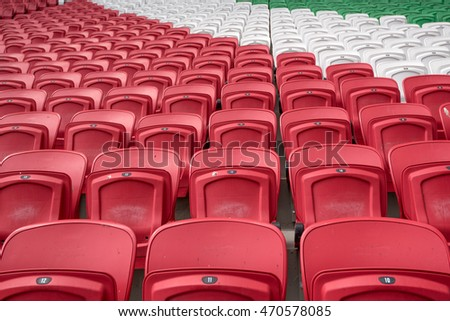 Bright red stadium seat