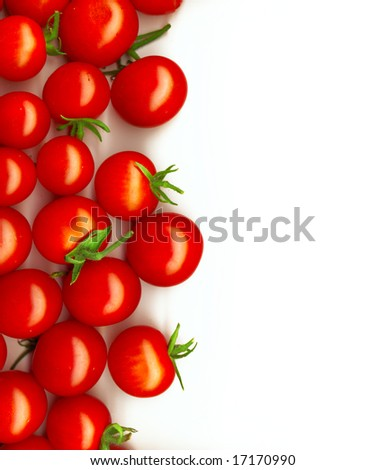 bright red tomatoes isolated on a white background - stock photo