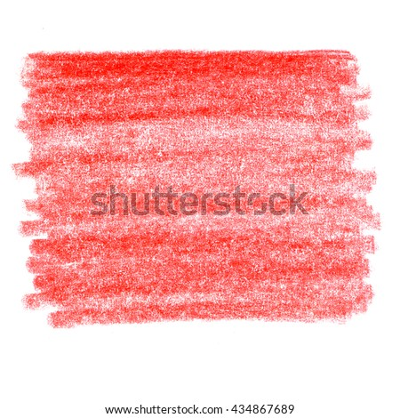 Bright Red watercolor crayon hand drawn strokes spot background.  Hatching colored pencil - stock photo