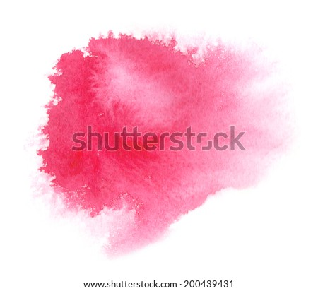 Bright red watercolor stain with watercolour paint stroke - stock photo