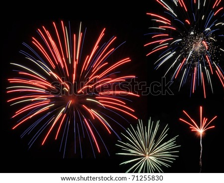 Bright red white and blue fireworks against the night sky - stock photo