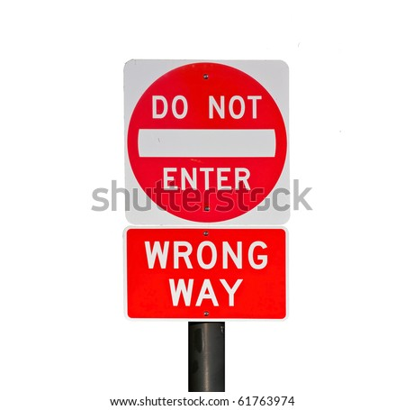 "Bright red ""wrong way"" sign isolated on white background - stock photo"