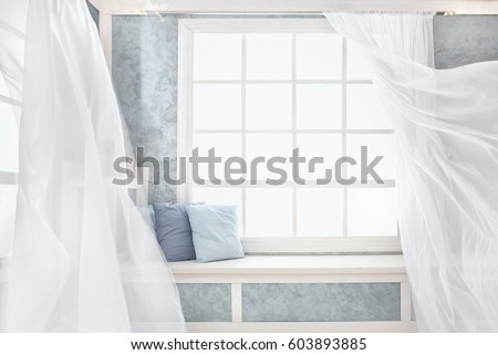 bright room interior curtains white window sill pillows plaster