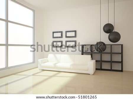 bright room with dark furniture - stock photo