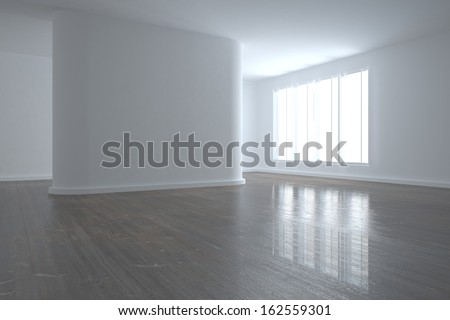 Bright room with wall in the middle and wooden floor