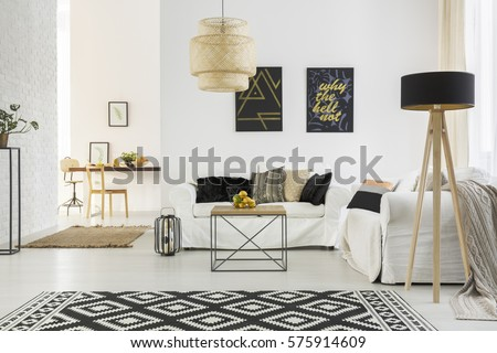 Bright Room With White Sofa, Table, Pattern Carpet And Lamp Part 97