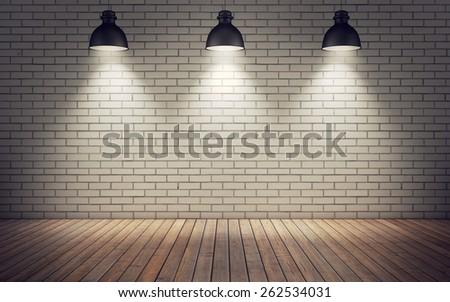 bright room with wooden floor. 3D Rendering - stock photo
