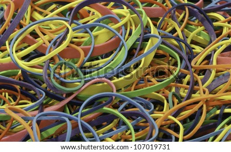 Bright Rubber Bands - stock photo