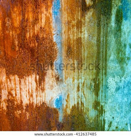 Bright rusty blue green texture - stock photo