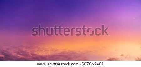 Bright saturated colors dawn fabulously beautiful panoramic view, illuminated by the golden rays of the rising moon early in the morning