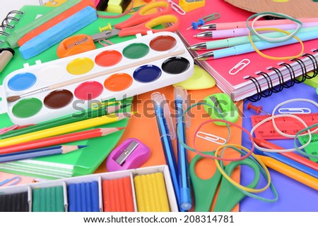 Bright school supplies close-up - stock photo