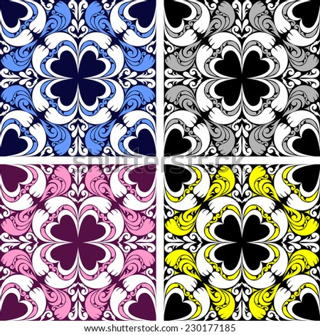 Bright seamless ornamental Pattern in four variants. Raster version. - stock photo