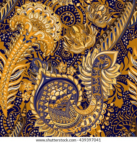 Bright Seamless Pattern In Paisley Style Decorative Colorful Backdrop Indian Wallpaper