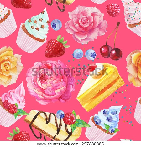 Bright seamless pattern with cupcake, roses, pieces of cake, cherry, strawberry, blueberry, chocolate, raspberry. - stock photo