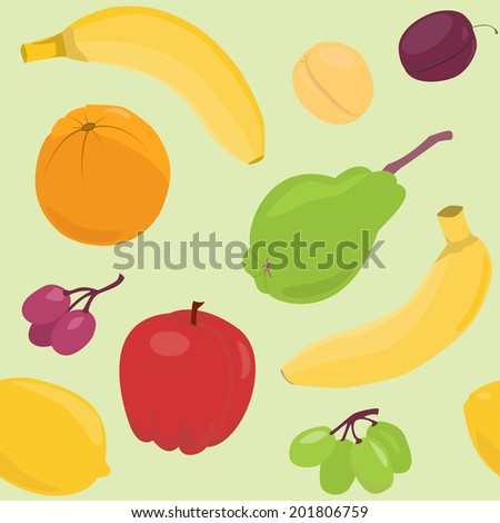 Bright seamless pattern with fruits over green. Raster version. - stock photo