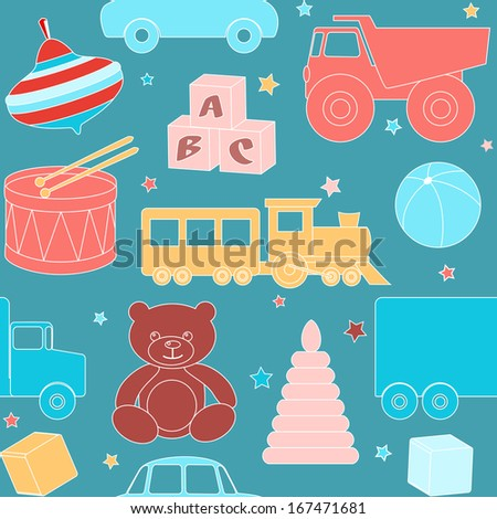 Bright seamless pattern with kids toys. Raster version.