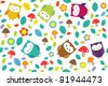 Bright seamless pattern with owls, leafs, mushrooms and flowers. Raster version. - stock photo