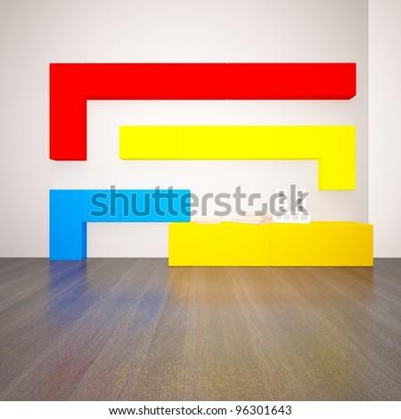 bright shelf in an empty room - stock photo