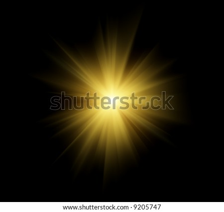 bright shining star on black - stock photo