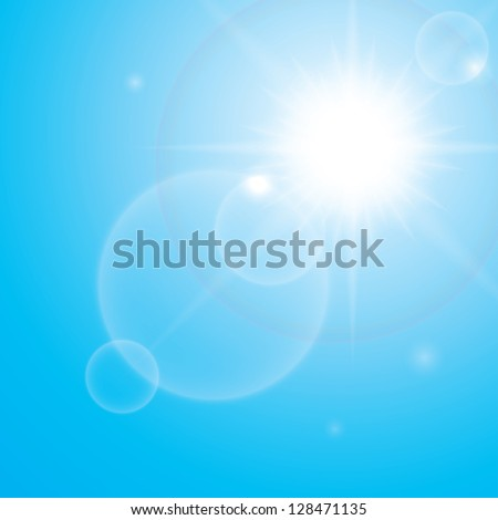 bright shining sun in a sky.(vector version also available in my gallery) - stock photo