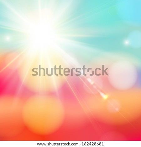 Bright shining sun with lens flare. Soft background with bokeh effect.  - stock photo