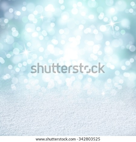 Bright shiny cyan color abstract bokeh circle and sparkle shapes with snow texture copy space background. Beautiful New Year and Christmas Holiday bokeh illustration copy space background. - stock photo
