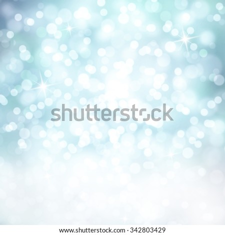 Bright shiny cyan color abstract bokeh circle and sparkle shapes with white copy space background. Beautiful New Year and Christmas Holiday bokeh illustration copy space background. - stock photo
