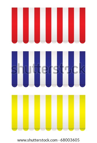 Bright shop front awnings in red blue and yellow - stock photo