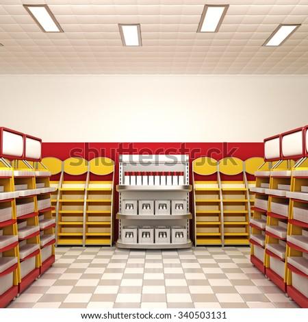 Bright Shop Interior. 3d rendering. - stock photo
