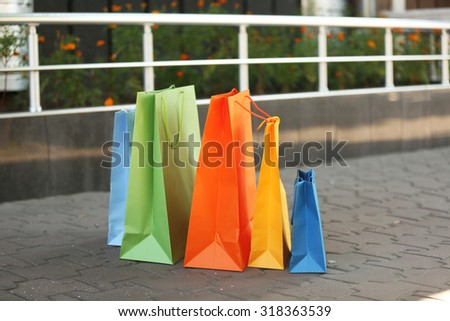 Bright shopping bags outdoors