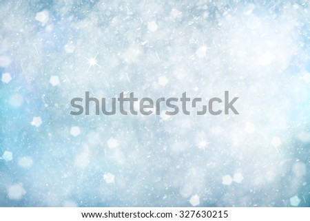 Bright silver blue colored abstract snowflake Christmas and New Year illustration background with sparkle. Beautiful Christmas and New Year Holiday greeting card with copy space background. - stock photo