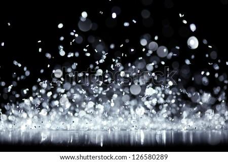 Bright silver glitter - stock photo