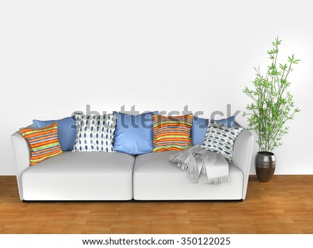 Bright sofa with colorful cushions - stock photo