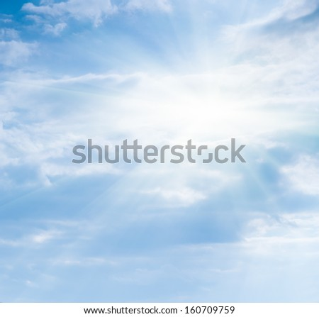 bright soft sky with clouds and sun - stock photo