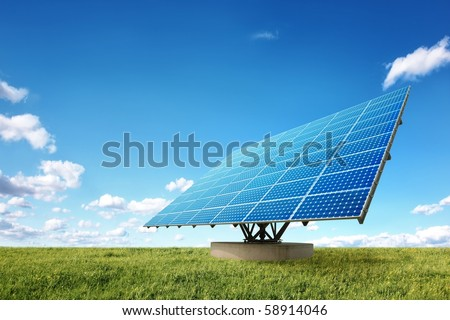 Bright solar panels in the nature - stock photo